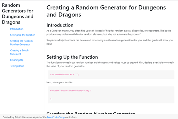 Free Code Camp – Technical Documentation Page Assignment