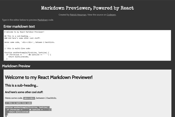 React Markdown Previewer
