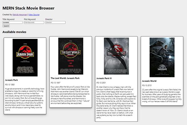 MERN Stack Movie Browser