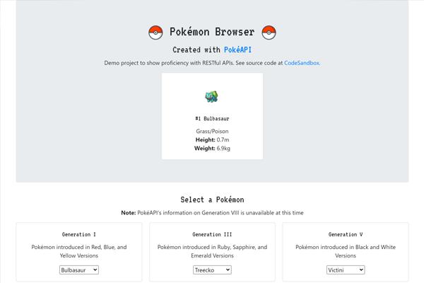 Pokémon Browser React API Project