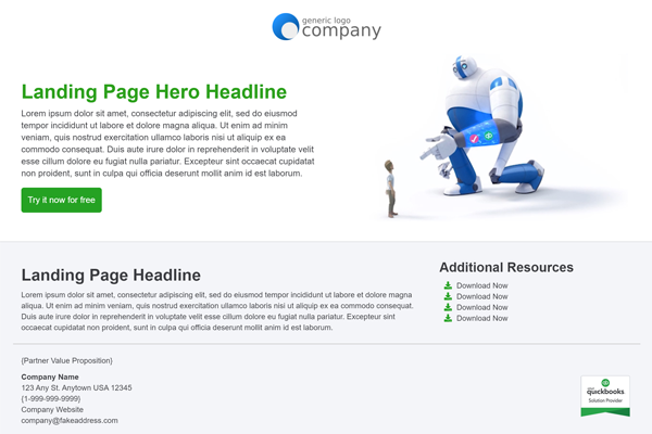 Intuit Email Landing Page
