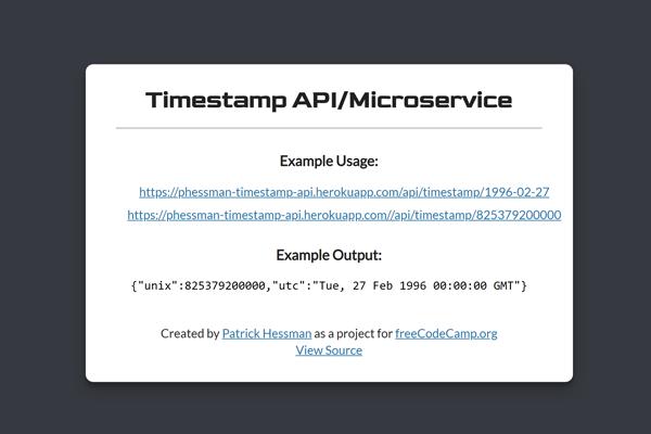 Timestamp Microservice