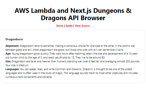 AWS Lambda and Next.js Dungeons & Dragons API Browser